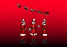 6 wielokrotność Santa Zdjęcia Royalty Free