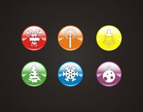 6 winter symbols and icons. 6 colorful winter symbols and icons on black background stock illustration