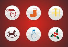 6 Wintersymbole und -ikonen Lizenzfreies Stockbild