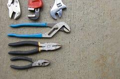 6 Wrenches arranged on concrete Stock Photos
