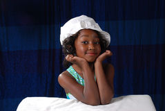 6 year old. Young black child 6 years old posiing for a pageant contest Royalty Free Stock Images