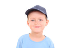 6 years old boy. Portrait of 5-6 years old boy isolated on white royalty free stock image