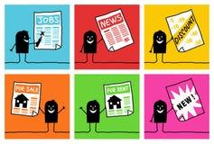 6 Zeichen - Geschäft u. Informationen Stockbild