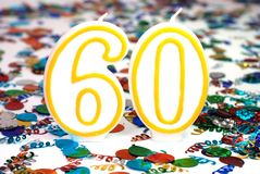 60个蜡烛庆祝编号 免版税图库摄影