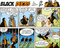 60只黑色漫画鸭子情节 免版税库存图片