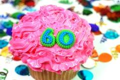60 αριθμός εορτασμού cupcake Στοκ Φωτογραφία