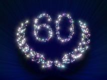 60 αστέρια αριθμού επετείου Στοκ φωτογραφίες με δικαίωμα ελεύθερης χρήσης
