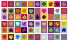 60 bevekelsegrundsnowflakes Arkivfoto