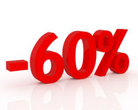 60% discount. Red 3D signs showing 60% discount and clearance Royalty Free Stock Images