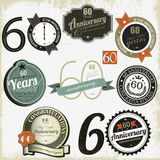 60 do aniversário anos de coleção dos sinal-projetos Imagem de Stock Royalty Free