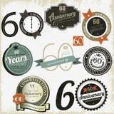 60 Jahre Jahrestag Zeichenauslegungen Sammlung Lizenzfreies Stockbild