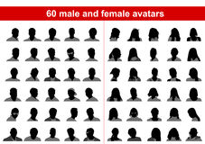 60 male and female avatars Stock Images