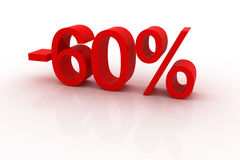 60 percent discount. Red sign showing a 60 percent discount Royalty Free Stock Images