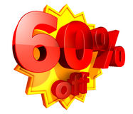 60 percent price off discount. Sign for 60 per cent off in red ciphers at a yellow star on a white background stock illustration