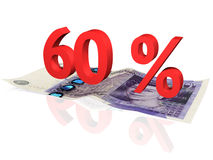 60 % percentage. 3d rendered 60 % percentage on a twenty pounds banknote Royalty Free Stock Photo