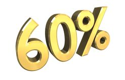60 por cento no ouro (3D) Fotografia de Stock Royalty Free