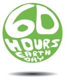60 Retro de Dag van de Aarde van uren Stock Afbeelding