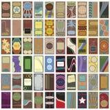 60 tarjetas de visita retras del vector de la vendimia Foto de archivo