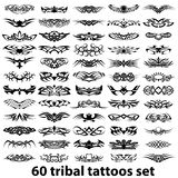 60 tribal tattoo set Stock Photos