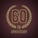 60 years anniversary vector icon, logo. Graphic design element with golden decorative branch for 60th anniversary card Royalty Free Stock Photography