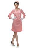 60s礼服粉红色减速火箭的妇女 免版税图库摄影