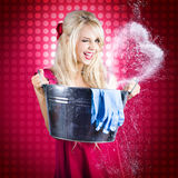 60s Retro Cleaning Lady With Metal Water Bucket Royalty Free Stock Image