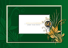 60th anniversary. Editable illustration of a green and golden congratulations card for 60th anniversary, jubilee, wedding or birthday Royalty Free Stock Photos