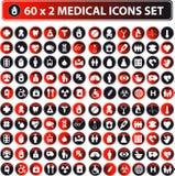 60x2 глянцеватые медицинские иконы, кнопка Стоковое Изображение RF