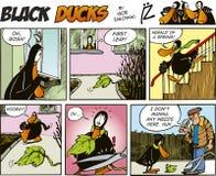 61只黑色漫画鸭子情节 免版税图库摄影
