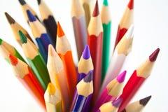 62 befläckte blyertspennor Fotografering för Bildbyråer