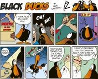 63只黑色漫画鸭子情节 库存照片
