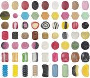 63 soorten hard suikergoed Royalty-vrije Stock Foto's