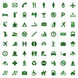 64 ícones diferentes, pictograma - verde Fotos de Stock Royalty Free
