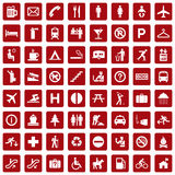 64 different icons, pictogram - red