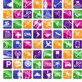 64 hotelowych ikon stubarwny wektor Zdjęcia Stock