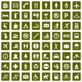 64 olika gröna pictograms Royaltyfri Foto