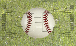 64 Team Baseball Tournament Bracket. 64 team playoff bracket on grass background with a baseball or softball Stock Image