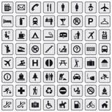 64 verschiedene Ikonen, Piktogramm - Grau Lizenzfreie Stockfotos