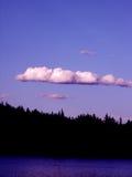 6407 clouds blue sky treeline. Dark treeline against the backdrop of blue sky with cloud taken at dusk Royalty Free Stock Image