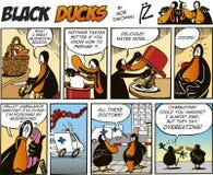 65只黑色漫画鸭子情节 库存例证