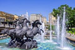 莫斯科,俄罗斯- 6月5 喷泉 免版税库存图片