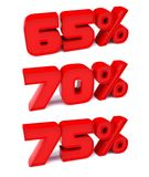 65%, 70%, 75%. Discount symbols. Royalty Free Stock Images