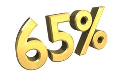 65 percent in gold (3D) Royalty Free Stock Photos