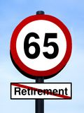 65 retirement warning roadsign Stock Photo