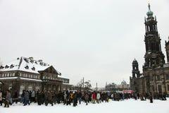 65ste herdenking van het bombarderen van Dresden Stock Foto