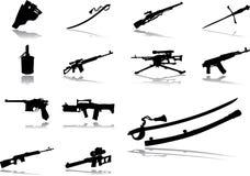 66个枪图标设置了 库存例证