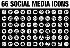 66 στρογγυλό κοινωνικό λευκό εικονιδίων μέσων Στοκ Φωτογραφίες