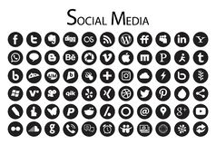 66 Circle Social Media Icons Black And White. Royalty Free Stock Images