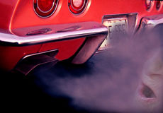 666. Enhanced Exhaust with Person Breathing Deadly Fumes Stock Image