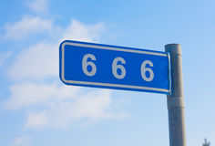 666 mile. Mark on a blue background Stock Photography